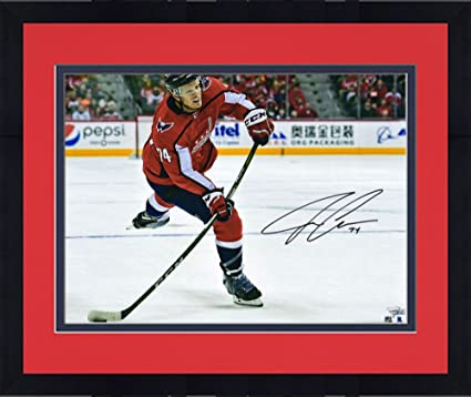 afa11852bbe Framed John Carlson Washington Capitals Autographed 16 quot  x 20 quot  Red  Jersey Shooting Photograph -