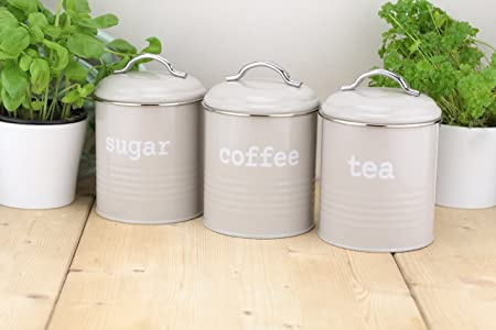 Set of 3 airtight round tea sugar and coffee storage canister jars grey