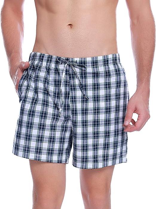 Hawiton Pantalon Pijama Corto Hombre Verano de 100% Algodon Pantalones Cortos Elástico Pantalones de Dormir a Cuadros de Salón: Amazon.es: Ropa y accesorios