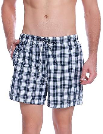 excepcional gama de estilos y colores nuevas imágenes de materiales superiores Hawiton Pantalon Pijama Corto Hombre Verano de 100% Algodon Pantalones  Cortos Elástico Pantalones de Dormir a Cuadros de Salón