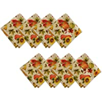 Elrene Home Fashions Grateful Season Printed Fabric Napkins for Fall/Harvest/Thanksgiving, Set of 8, 17″ x 17