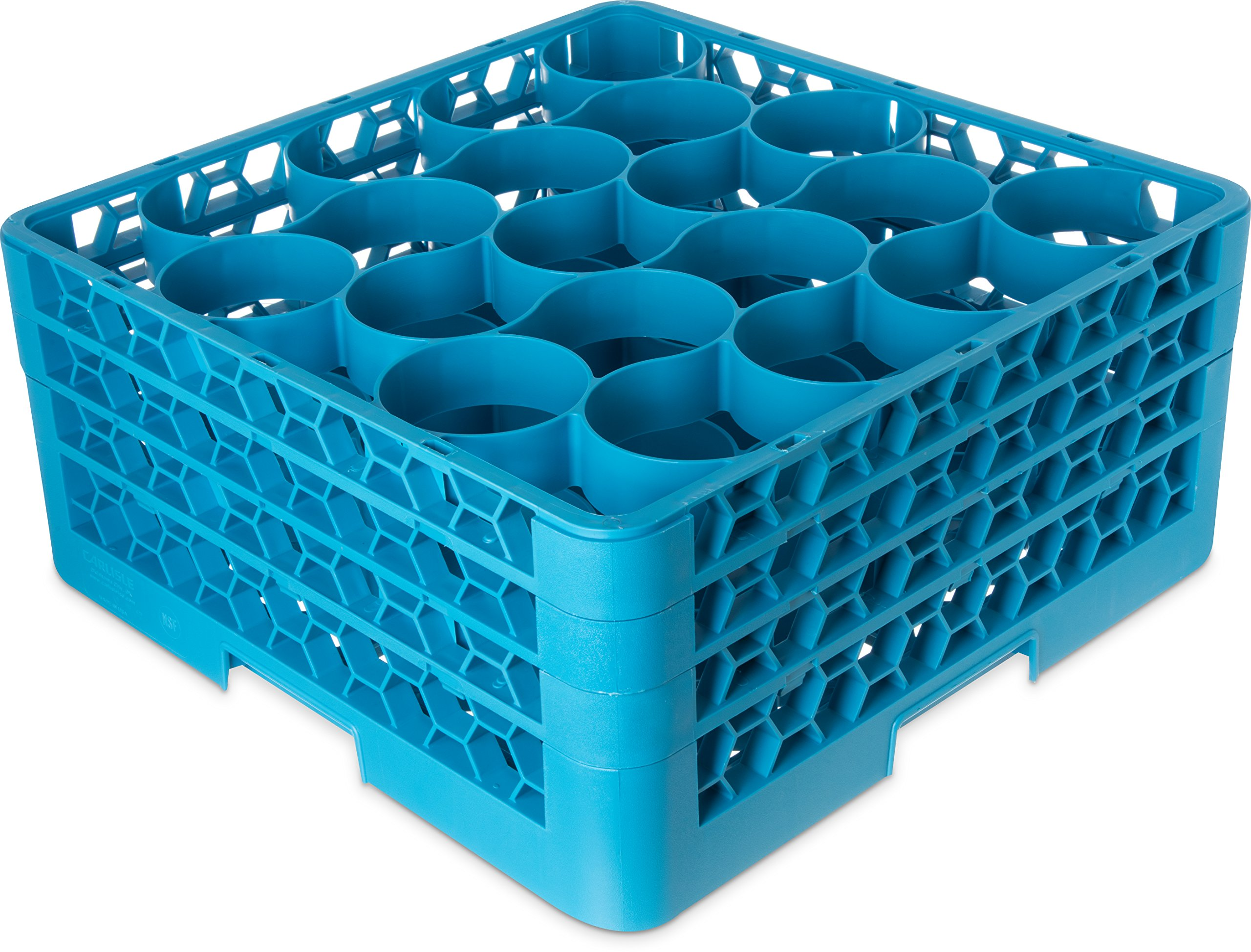 Carlisle RW20-214 OptiClean NeWave Polypropylene 20-Compartment Glass Rack with 3 Extenders, 19-3/4'' Length x 19-3/4'' Width x 8.72'' Height, Blue (Case of 2)