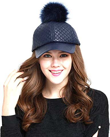 Black American Jewel Faux Fur and Pleather Pom Pom Cap for Girls