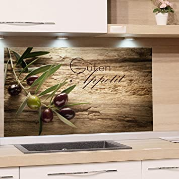 GRAZDesign 200117_100x50_SP Spritzschutz Glas für Küche/Herd | Bild-Motiv  Olivenzweig mit Schrift | Küchenrückwand Küchenspiegel Glasrückwand ...