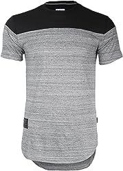 Zimego Men/'s Wide Shoulder Short Sleeve Hip-hop Hipster Round Bottom T-Shirt BLK