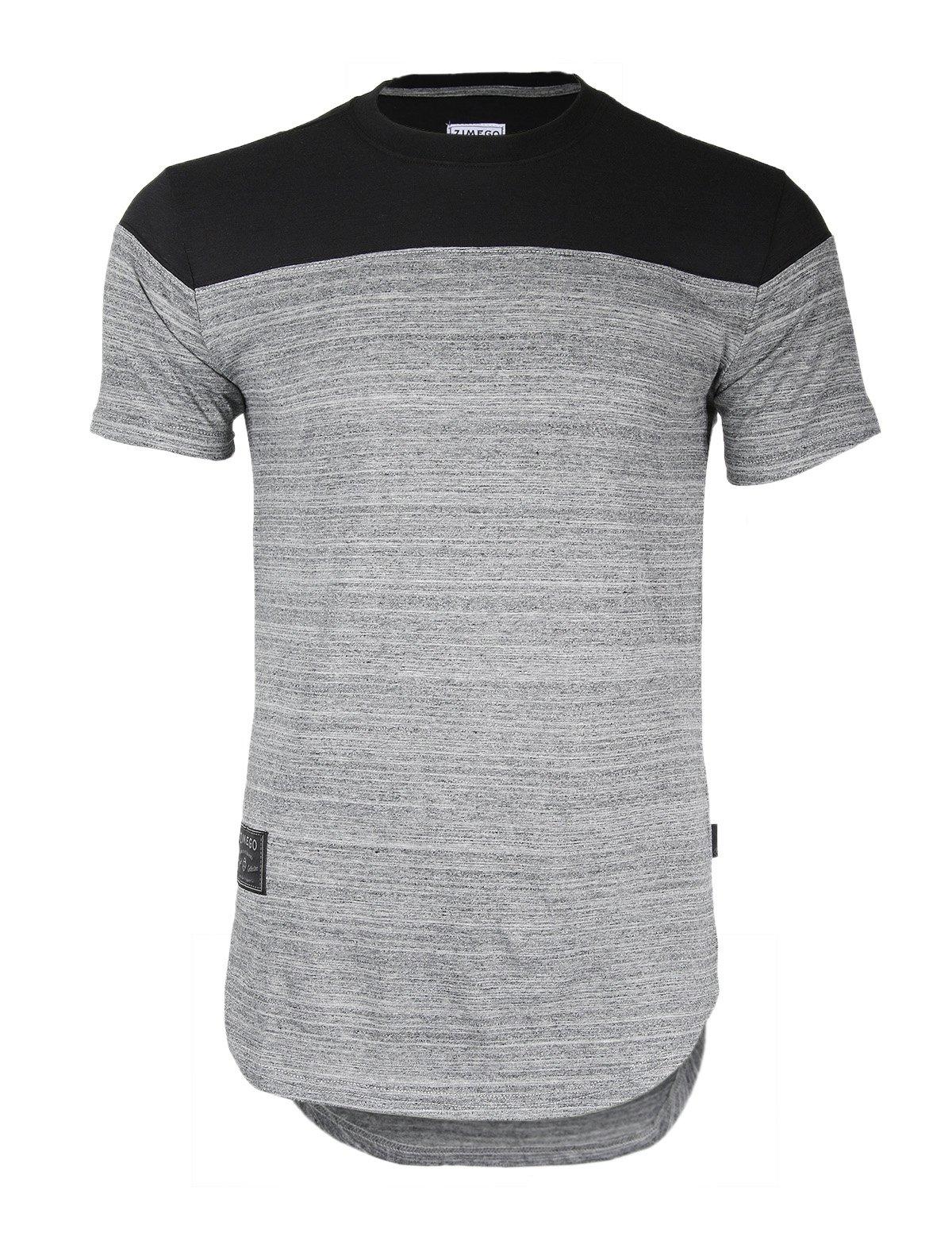 ZIMEGO Men's Short Sleeve Semi Longline Round Bottom Hip-hop Hipster T-Shirts (Large, ZFSS458-FBMerchant)