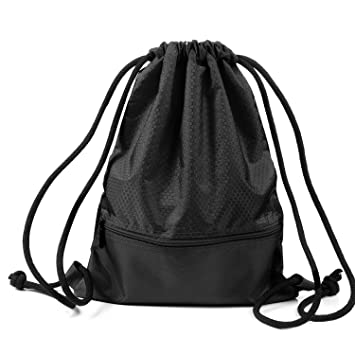 TURATA Sackpack Gymsack Drawstring Gym Bag With Pockets For Outdoor Storage Black Standard