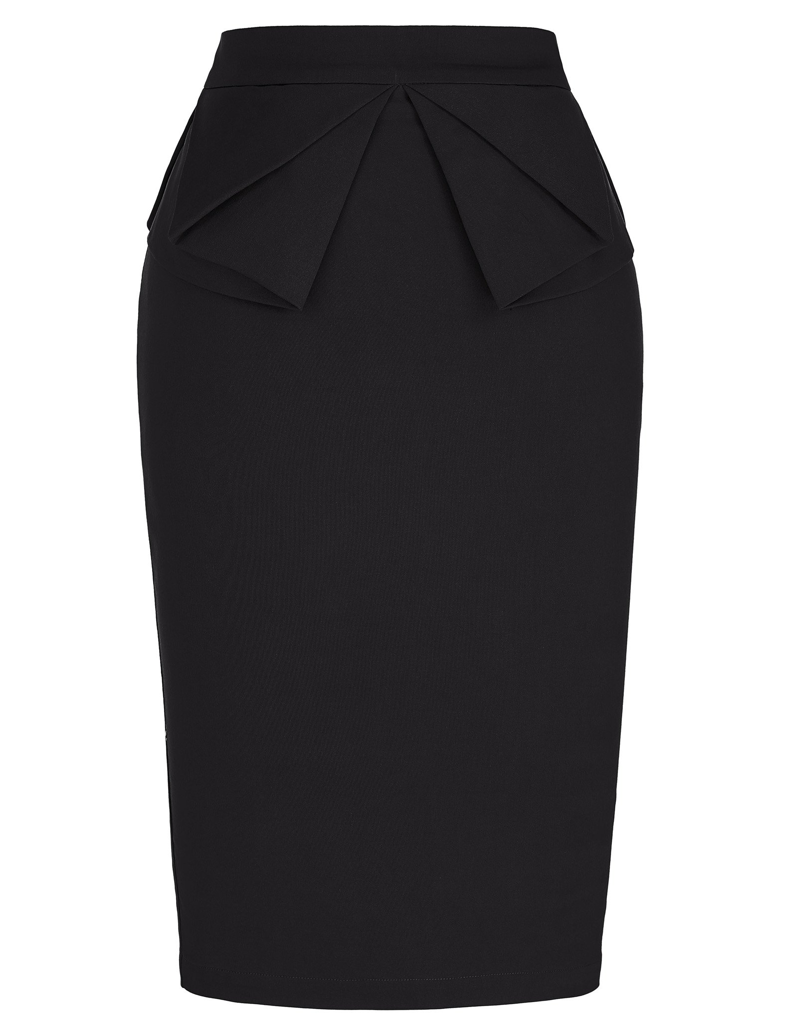 PrettyWorld Vintage Dress Solid Slim Stretchy Pencil Skirt for Women Knee Length Black (M) KL-1 CL454