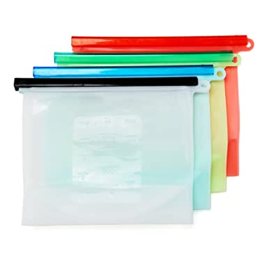 Reusable Snack Bags - Reusable Silicon Food Storage Bag 4 Pack by EvCo   for Your Lunch, Sandwich, Vegetables, Produce, Snacks and All Kinds of Food   BPA Free Eco Friendly & Sustainable Containers