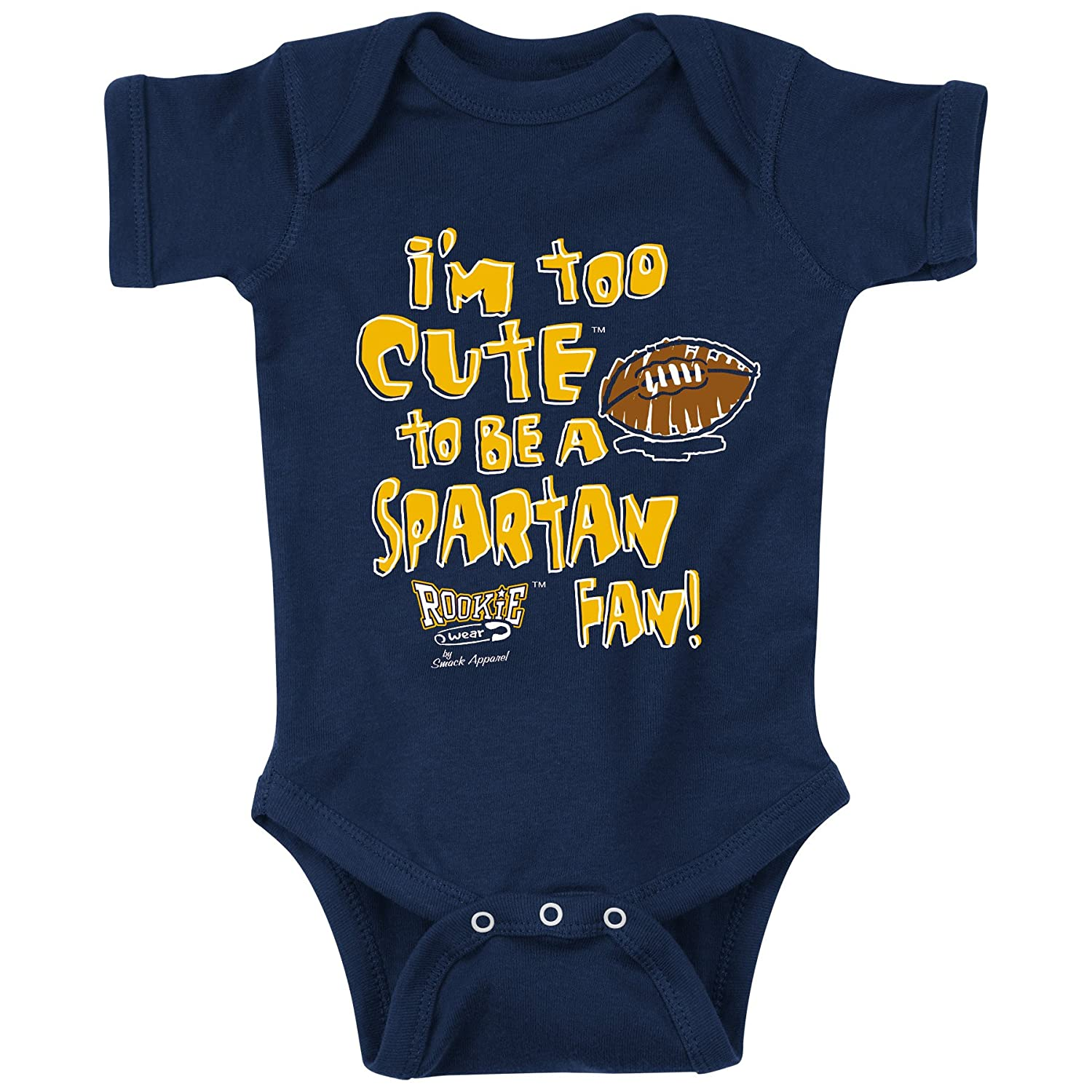 6M Michigan Football Fans NB-4T Too Cute to Be a Spartan Fan Onesie /& Toddler Tee