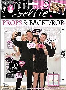 Forum Novelties Wedding Selfie Photo Booth Props & Backdrop Set of 10 Props by Express Novelties Online