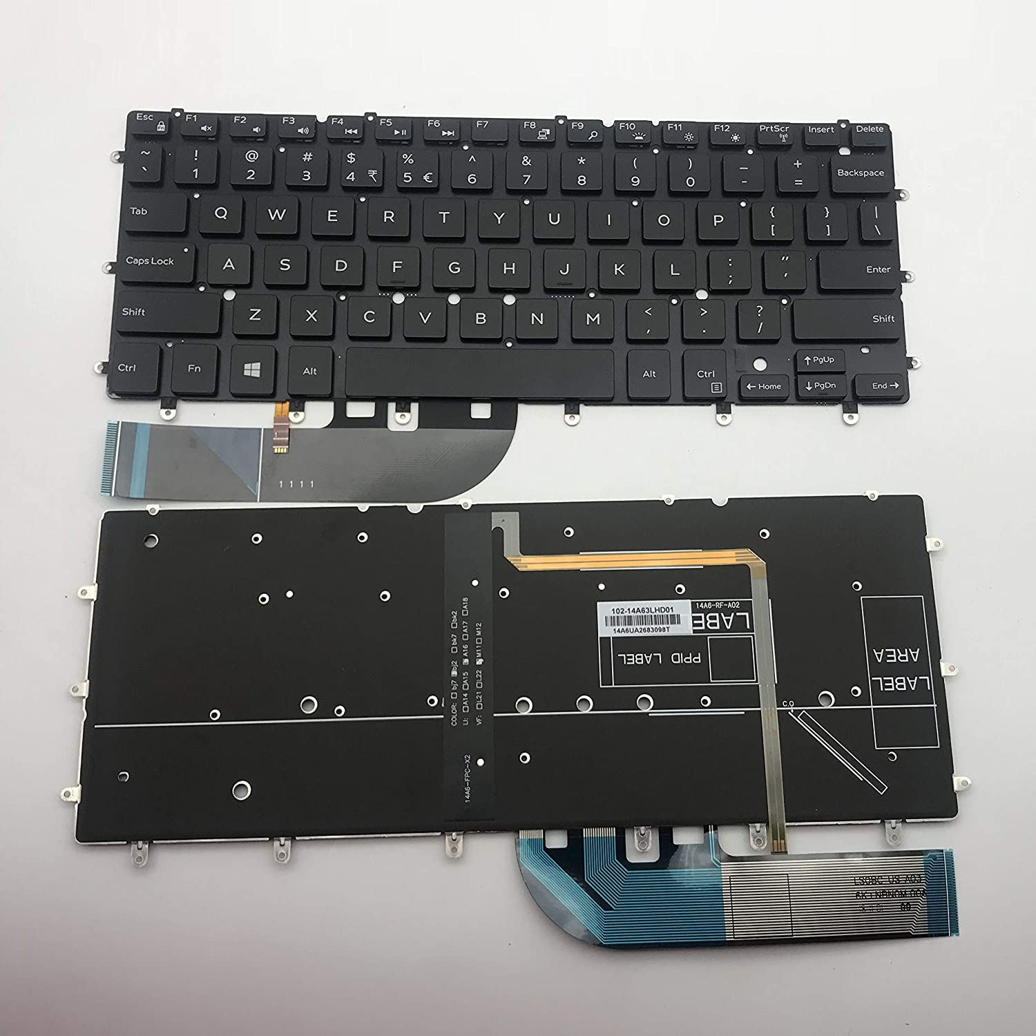Moon2020 Replacement Keyboard for Dell XPS 13-9343 13D-9343 13-9350 XPS13 13-7000 7347 7348 7352 7353 7359 XPS 15 9550 Laptop Backlight No Frame