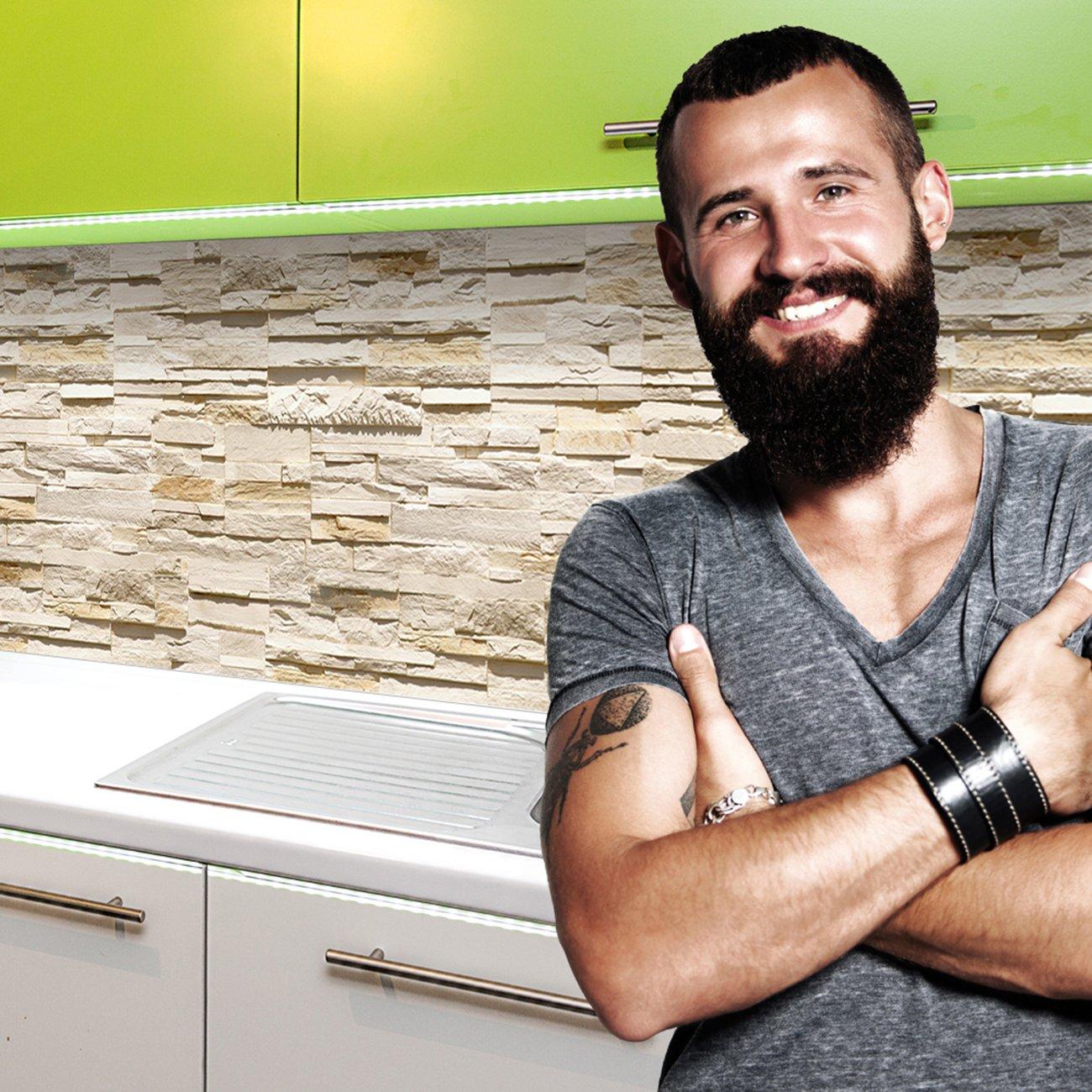 StickerProfis Küchenrückwand selbstklebend Pro STEINWAND Ashlar Mittelmeer 60 x 340cm DIY - Do It Yourself PVC Spritzschutz