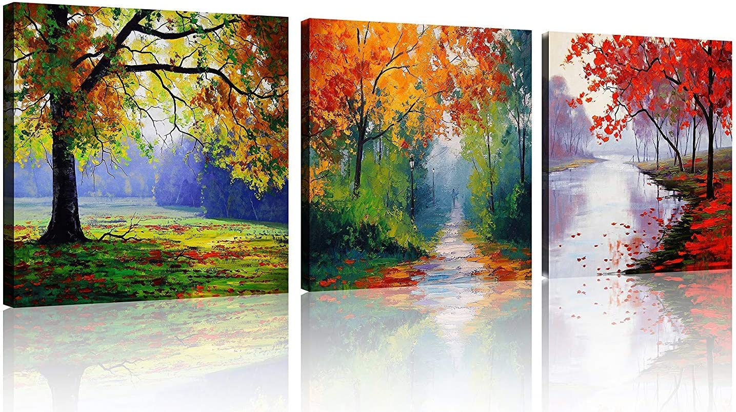 Amazon Com Tutubeer 4 Seasons Tree Canvas Wall Art Oil Paintings Printed Pictures Stretched For Home Decoration Ready To Hang Each Piece 12x12inch 3pcs Set Posters Prints