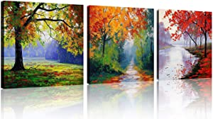 TutuBeer 4 Seasons Tree Canvas Wall Art Oil Paintings Printed Pictures Stretched for Home Decoration Ready to Hang,Each Piece 12x12Inch 3pcs/Set