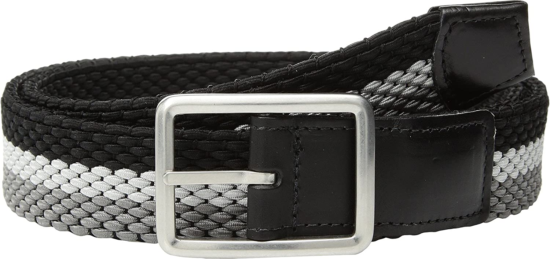 Torino Leather Co Mens 35mm Italian Woven Tri-Stripe Reversible Elastic Grey//Nickle//Black 46