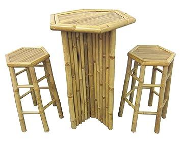 Barhocker Set Aus Bambus 1x Stehtisch 2x Hocker Party Mobel