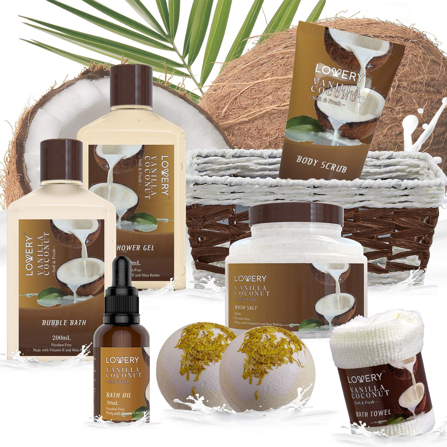 Bath and Body Gift Basket For Women and Men – 9 Piece Set of Vanilla Coconut Home Spa Set, Includes Fragrant Lotions, Extra Large Bath Bombs, Coconut Oil, Luxurious Bath Towel & More : Beauty