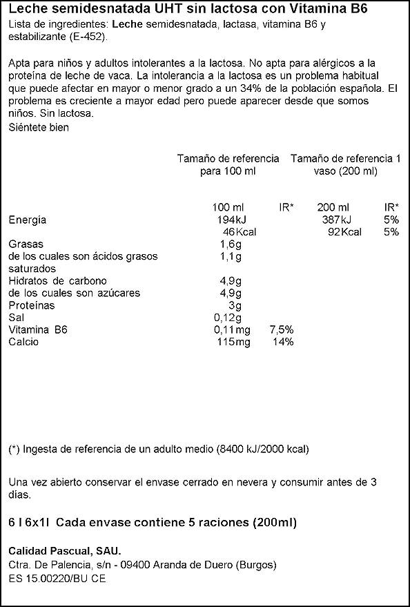 Pascual Leche Sin Lactosa Semidesnatada - Paquete de 6 x 1 ...