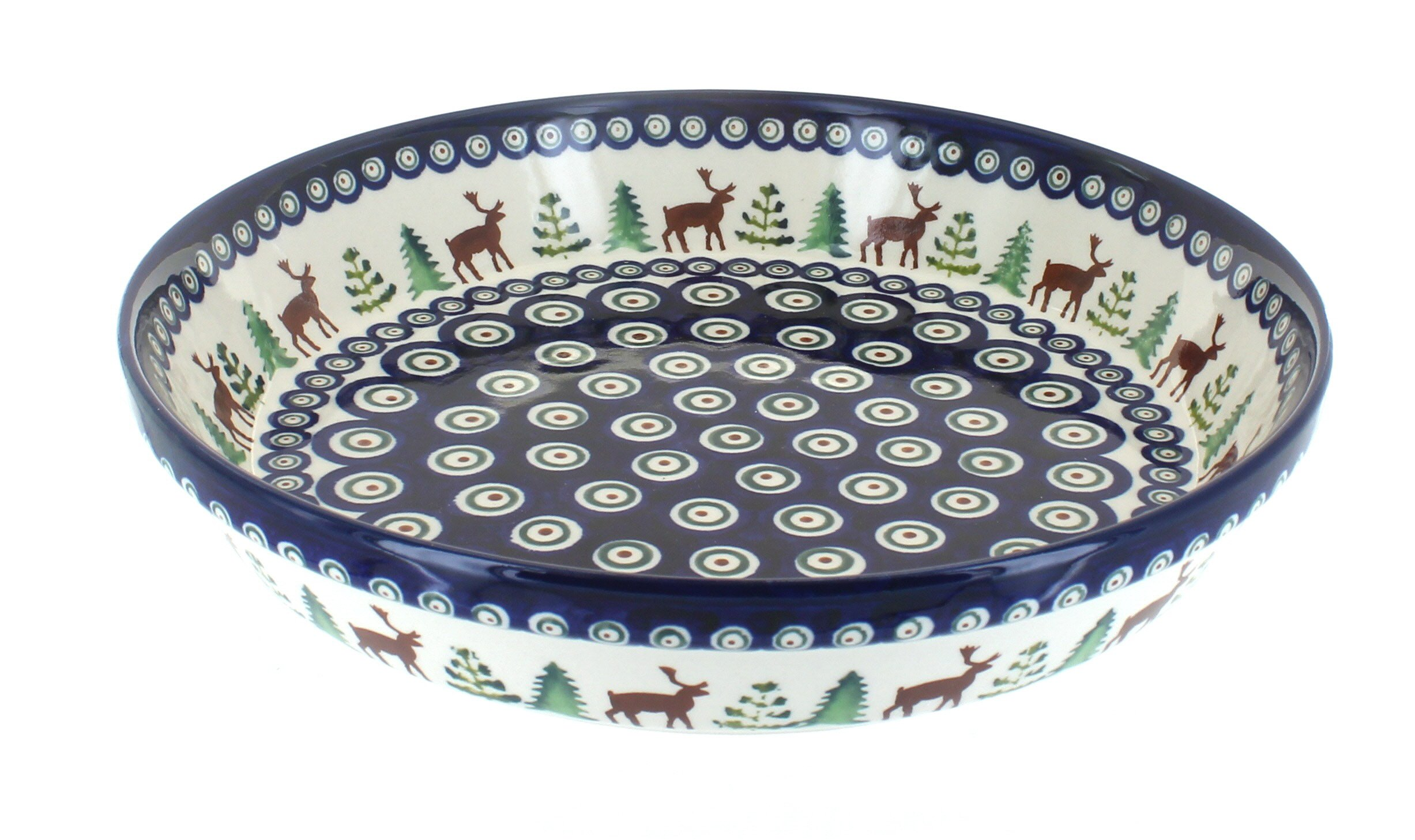Blue Rose Polish Pottery Reindeer Pine Pie Plate