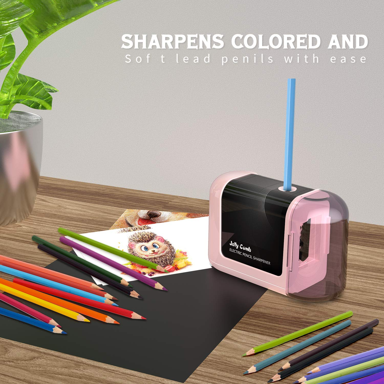 No Cord Electric Pencil Sharpener Designed for Classroom,Home Pink Office Drawing, Coloring Jelly Comb Battery Operated Pencil Sharpener Aritist Ideal for No.2 and Colored Pencils Students