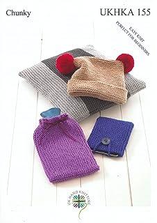 UKHKA Chunky Knitting Pattern 155. Cushion Cover, Hat, Hot Water Bottle  Cover U0026