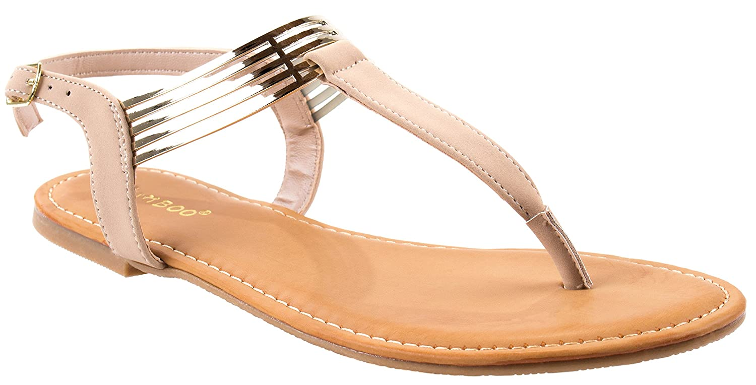 Bamboo Shoes Women's Nadya-59S T- Strap Nub/Pu Sandals with SlingBack Buckle and Metal Straps