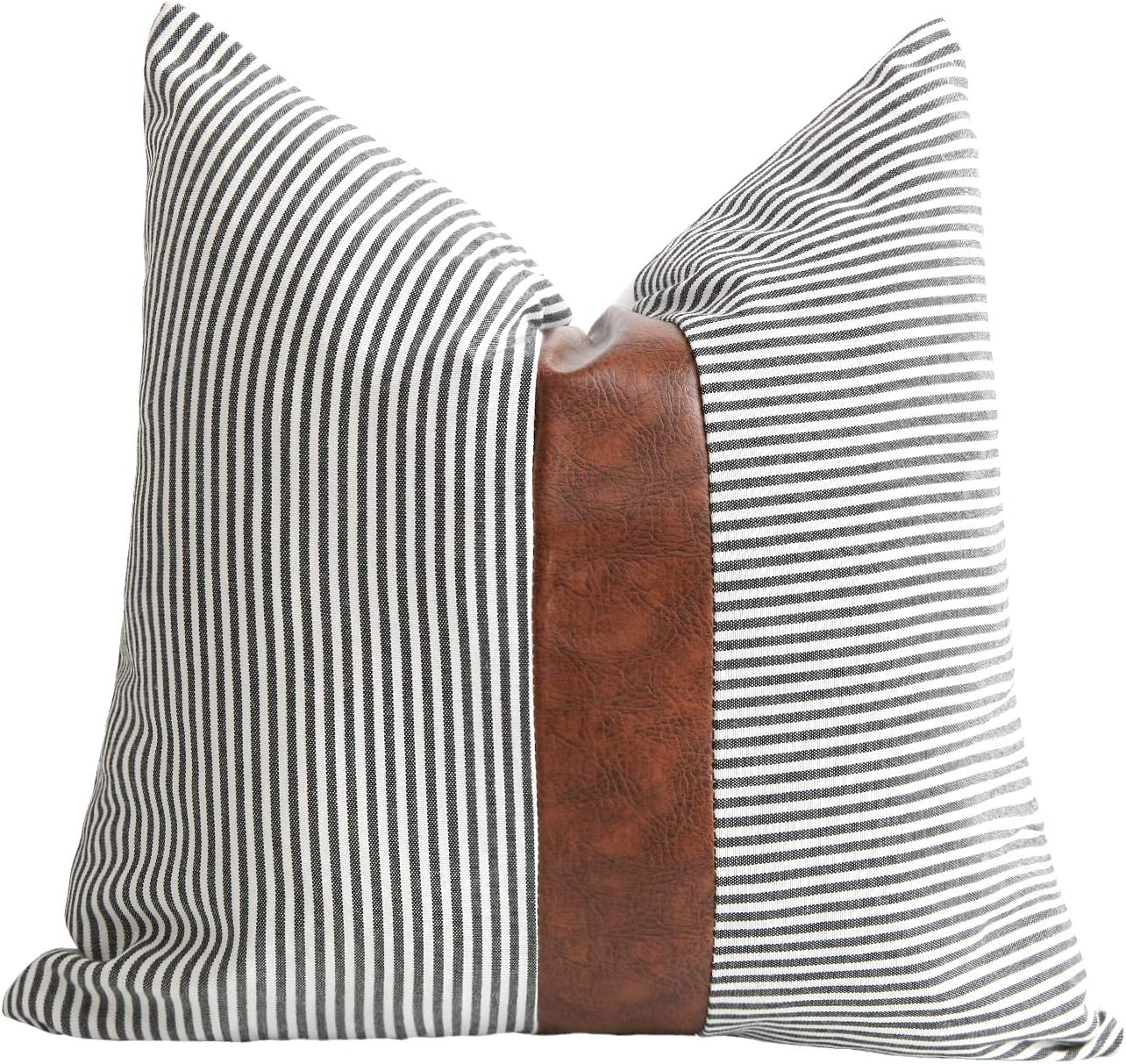Amazon Com Merrycolor Farmhouse Decorative Throw Pillow Covers For Couch Stripe Faux Leather Accent Pillow Cover Boho Modern Decor Pillow Case 18 X 18 Inch Black Home Kitchen