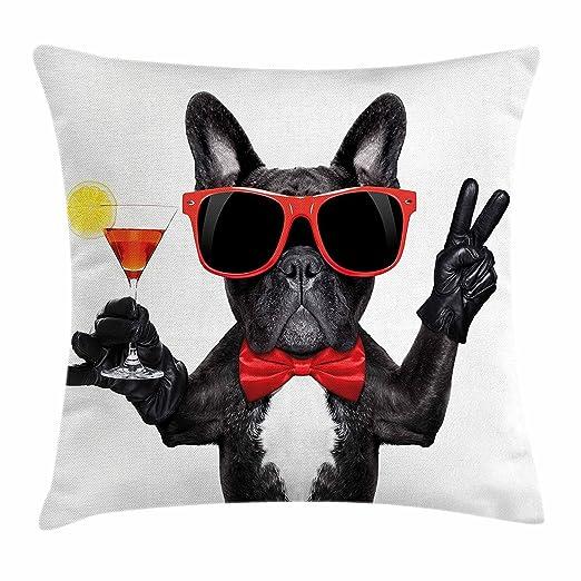 DCOCY Funda de cojín, diseño de bulldog francés, para cóctel ...