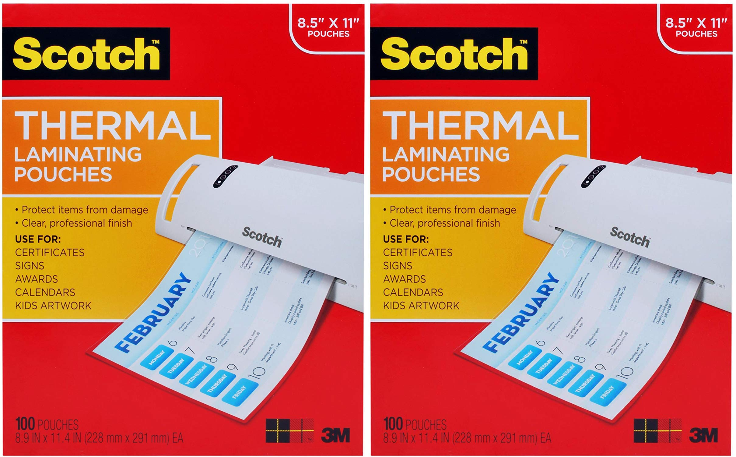 Scotch Thermal Laminating Pouches, 8.9 x 11.4 -Inches, 3 mil Thick, 100-Pack (TP3854-100) (Pack 2) by Scotch Brand