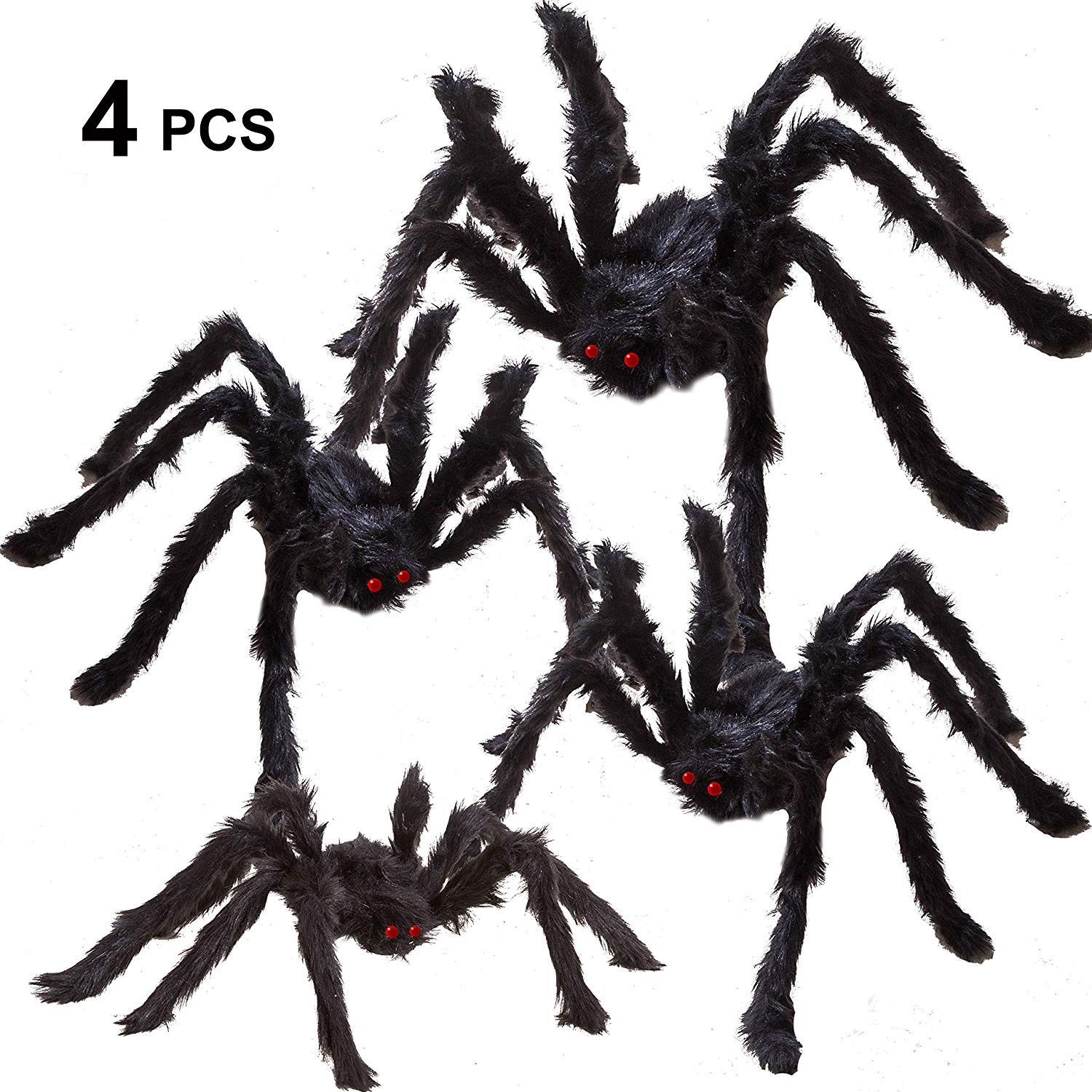 "Four Halloween Realistic Hairy Spiders Set, Valuable Halloween Props, Halloween Spider Set for Indoor and Outside Decorations (One 47.25"", Two 35.5"", and One 29.5"")"