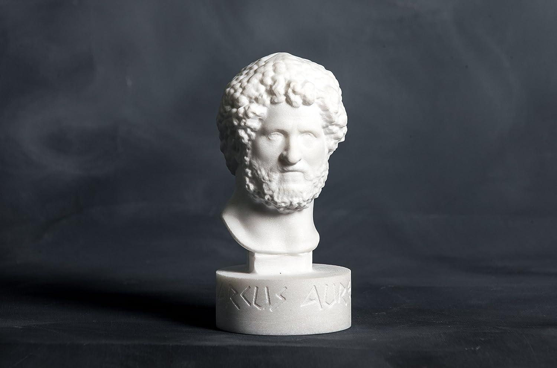 Büste Des Marcus Aurelius Geschnitzte Griechische Marmor Statue Figur Künstler Skulptur