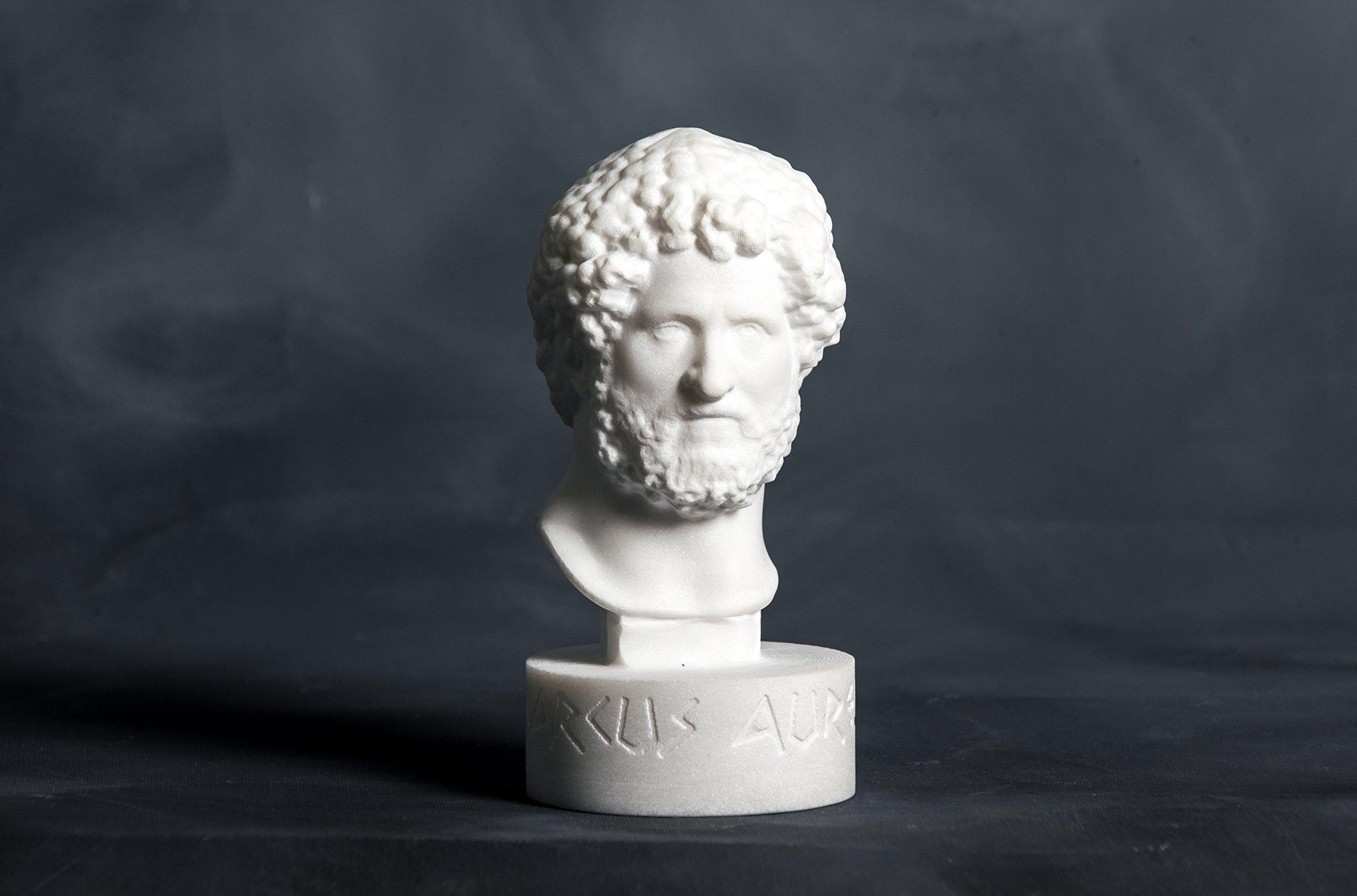 Bust of Marcus Aurelius Carved Greek Marble Statue Figurine Artist Sculpture