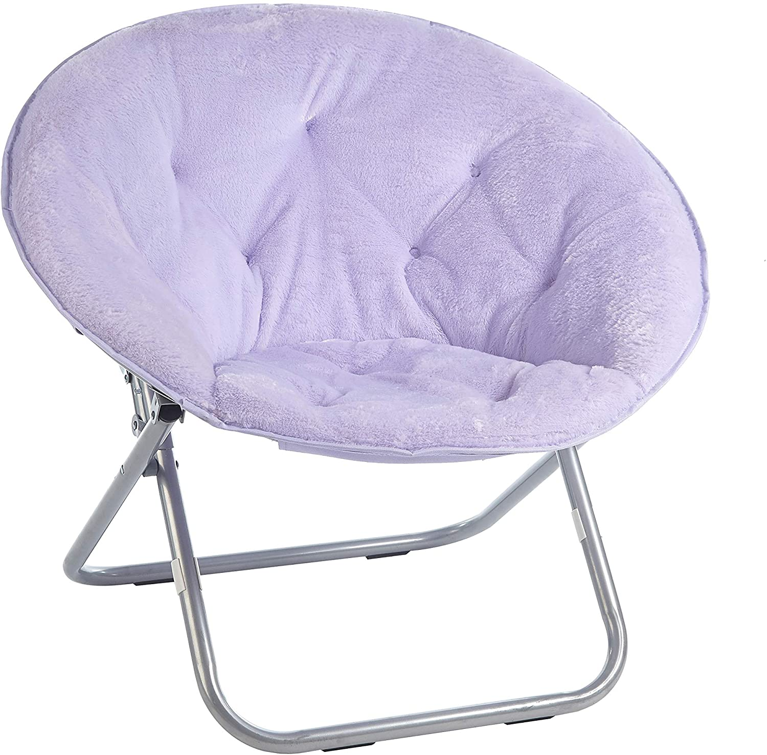 Urban Shop Faux Fur Saucer Chair with Metal Frame, Lavender