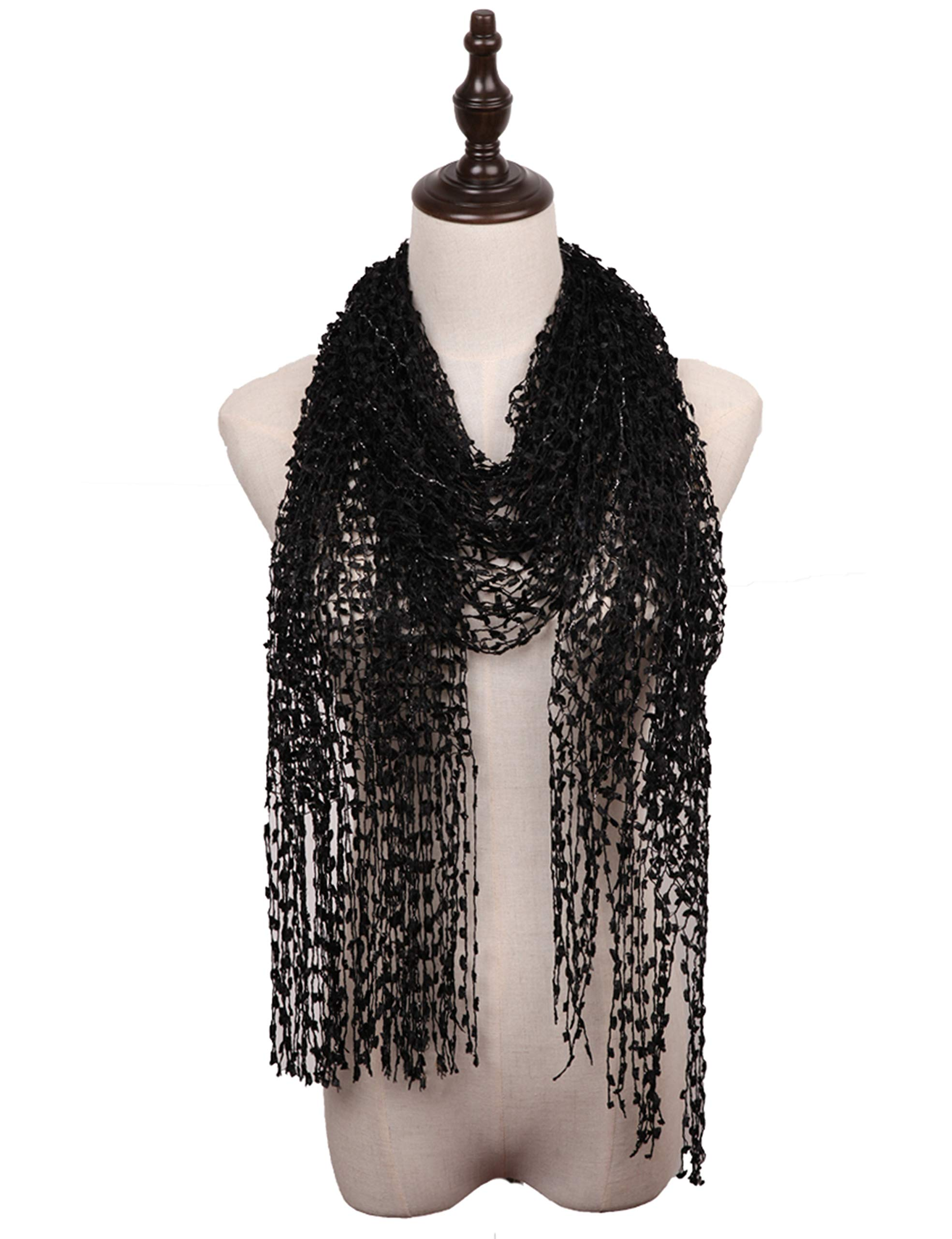 MissShorthair Lightweight Confetti Scarf Solid Women Shawls Wraps For Evening Dresses(Black)
