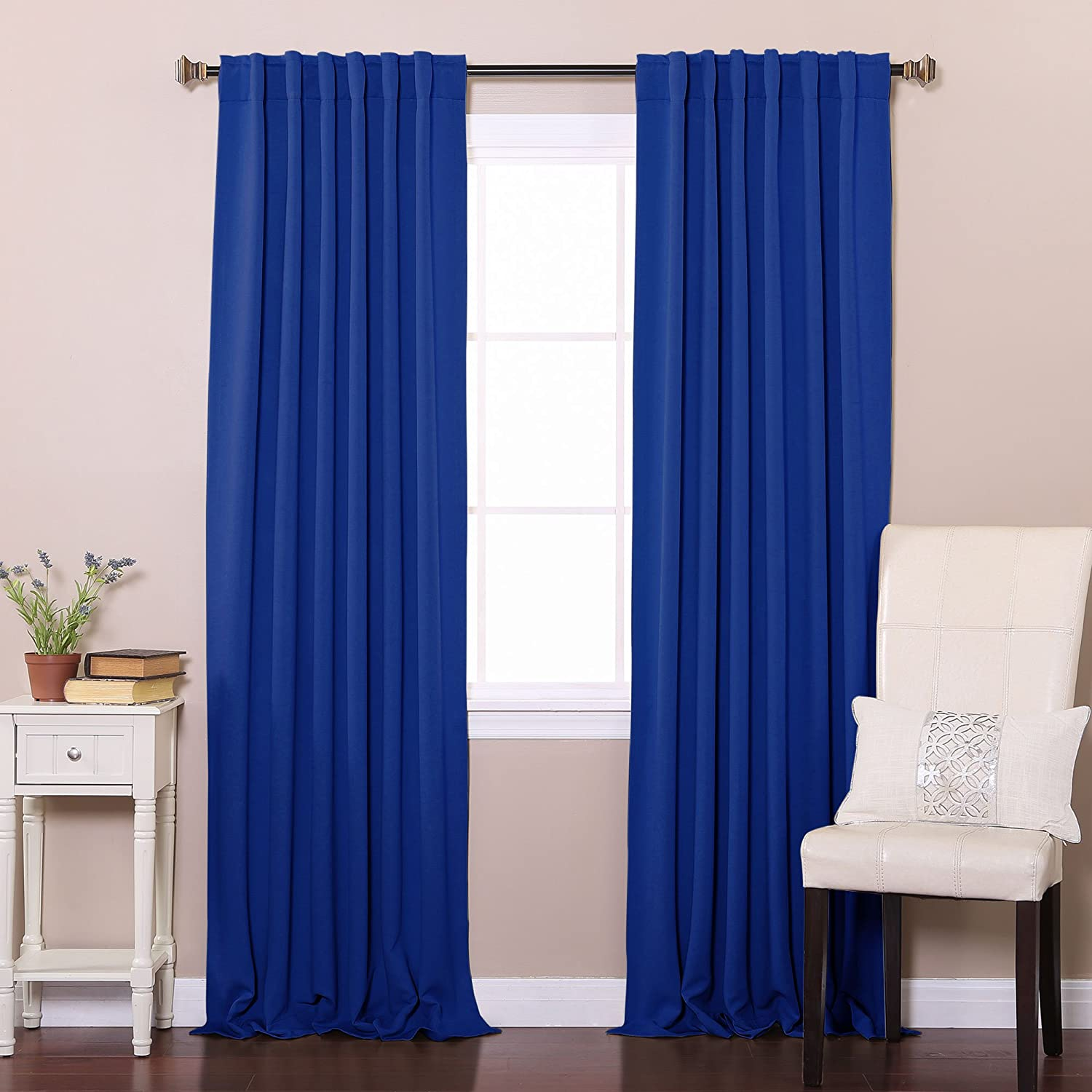 Best Home Fashion Thermal Insulated Blackout Curtains - Back Tab/ Rod Pocket - Royal Blue - 52W x 84L - Tie backs included (Set of 2 Panels)