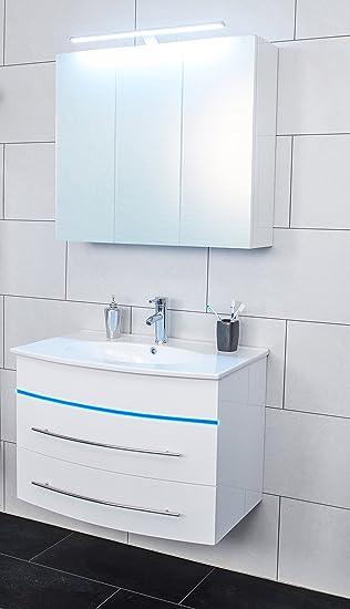 SAM® Badmöbel Set 2 Tlg, Hochglanz Weiß, LED Beleuchtung Blau