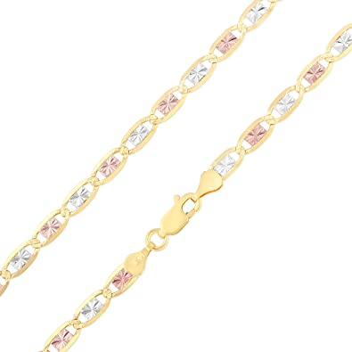 Ioka 14K Tri Color Solid Gold 2.1mm Valentino Chain Necklace with Lobster Clasp