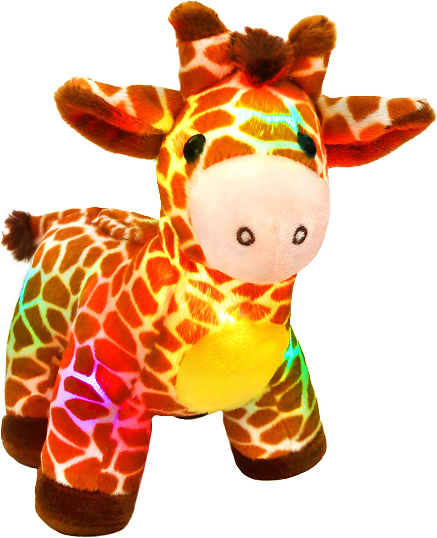 Bstaofy LED Giraffe Stuffed Animal Plush Light Up Jungle Pal Toy Glow in Dark Luminous Birthday Christmas Festival Gift for Kids Friends, 12.5''