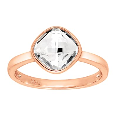 f8c70cd93 Amazon.com: Crystaluxe Solitaire Ring with Swarovski Crystal in 18K Rose  Gold-Plated Sterling Silver: Jewelry