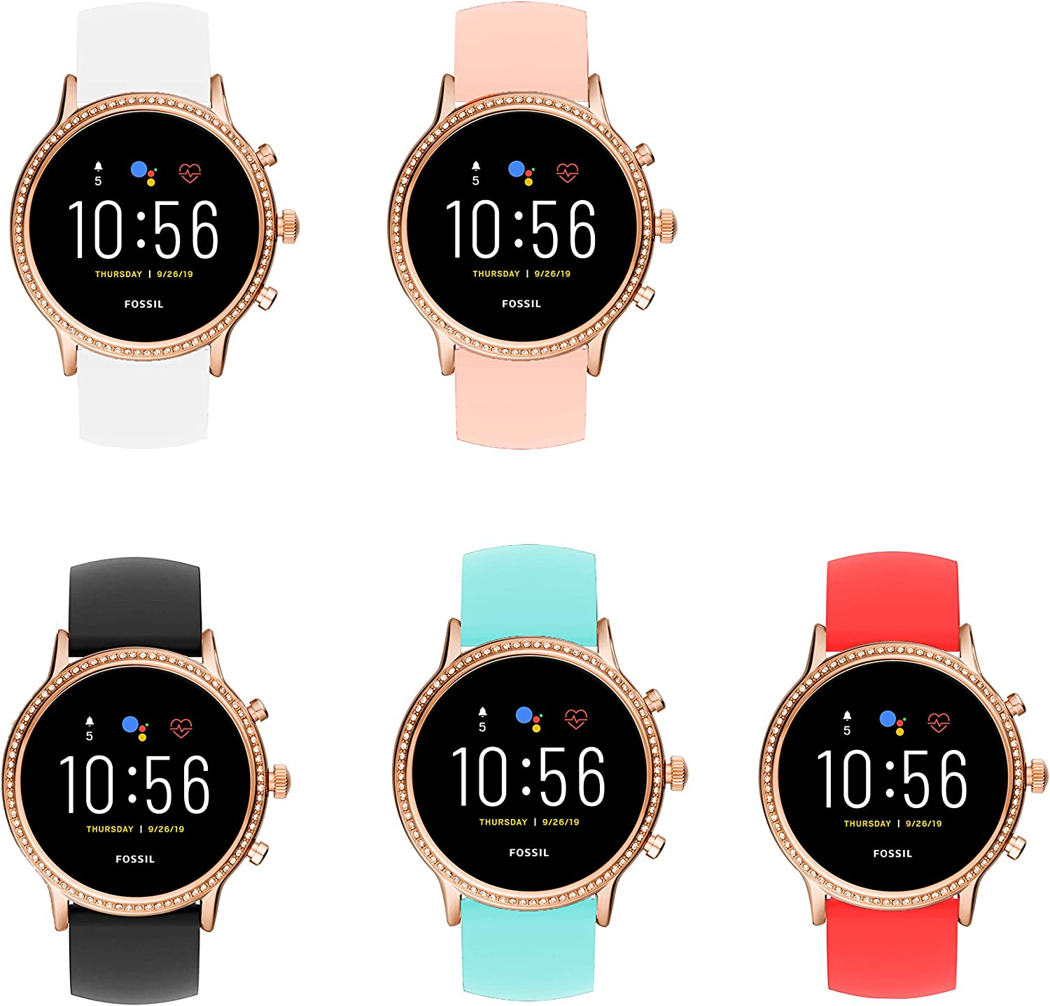 for Fossil Julianna Hr Bands, Blueshaw Sport Silicone Replacement Strap for Fossil GEN 5 SMARTWATCH - Julianna HR (5 Pack)