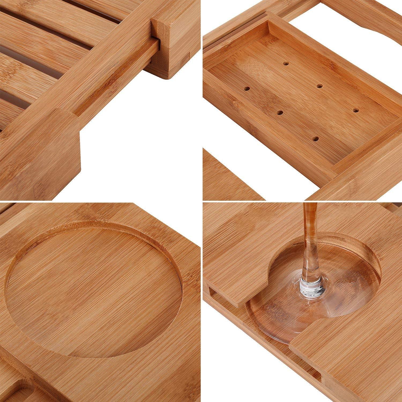 Utoplike Badewanne Caddy Bambus Bad Tub Tray met Buchhalter Badewannenablage Badewannenbrett Bathtub Caddy ausziehbar mit 1 Handtuch-Boxen 50-80cm x 16 x 4cm