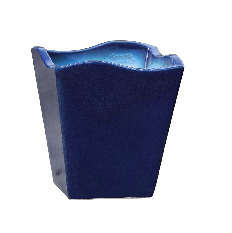 Großer Pflanztopf mit Wellenrand frostsicher eckig frostsicher Größe L 30 x B 30 x H 34 cm, Farbe effekt blau, Form 642.034.64 Pflanzkübel quadratisch Qualität von Hentschke Keramik