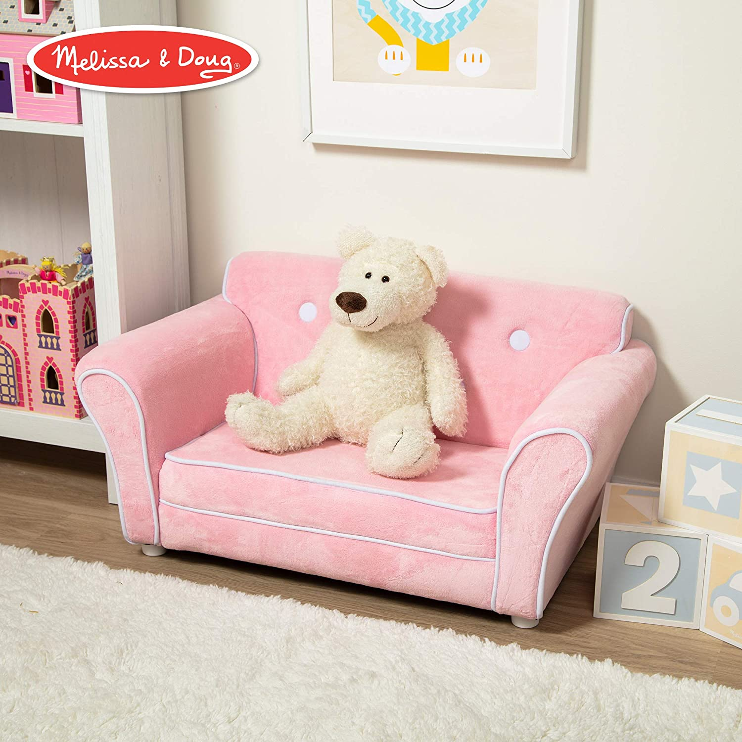 Melissa & Doug Child's Sofa - Pink Plush Children's Furniture