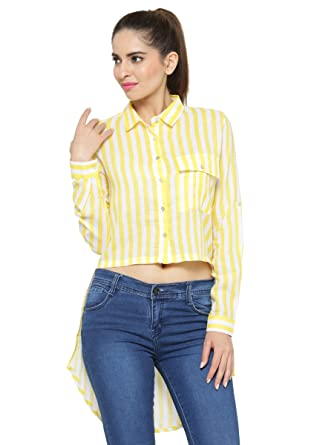 7ee3470c397a49 silly people Cropped Shirt for Women - Yellow Striped Full Sleeves Shirt -  Soft Polyester Material Top wear for Ladies - Casual Wear Latest Designer  Shirts