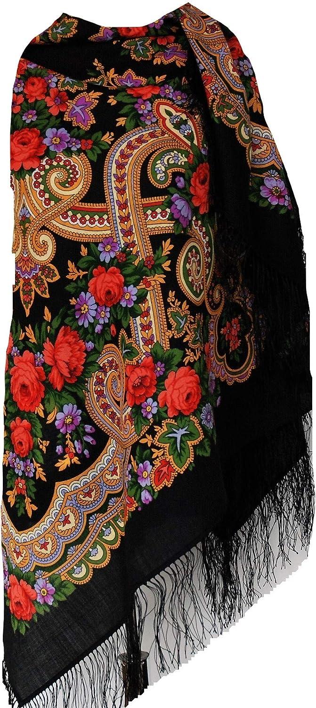 con frange di seta Bella e autentica sciarpa scialle pavlovo posad russo stola Paisley Folk motivo floreale 125cm x 125cm 100/% lana