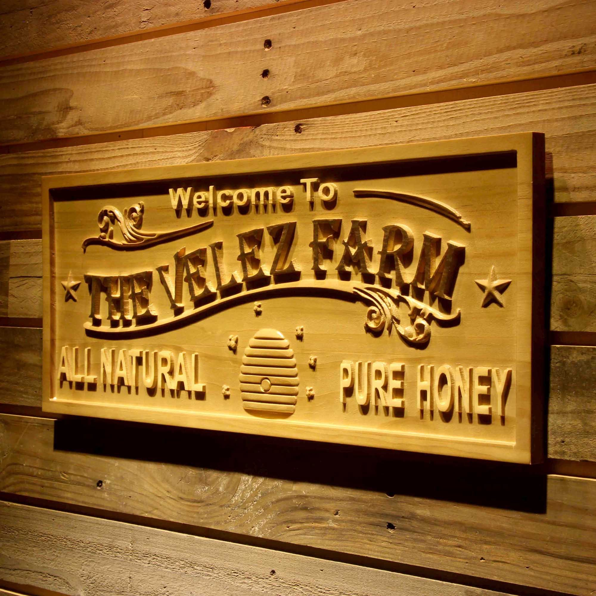 ADVPRO wpa0431 Farm Name Personalized Honey Bee Decoration Wood Engraved Wooden Sign - Standard 23'' x 9.25'' by ADVPRO