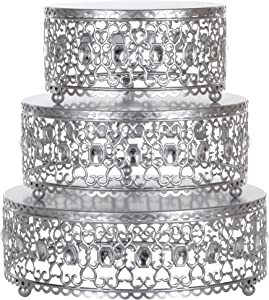 Amalfi Decor Cake Stand Plateau Riser Set of 3 Pack, Dessert Cupcake Pastry Candy Display Plate for Wedding Event Birthday Party, Round Metal Pedestal Holder with Crystal Gems, Silver