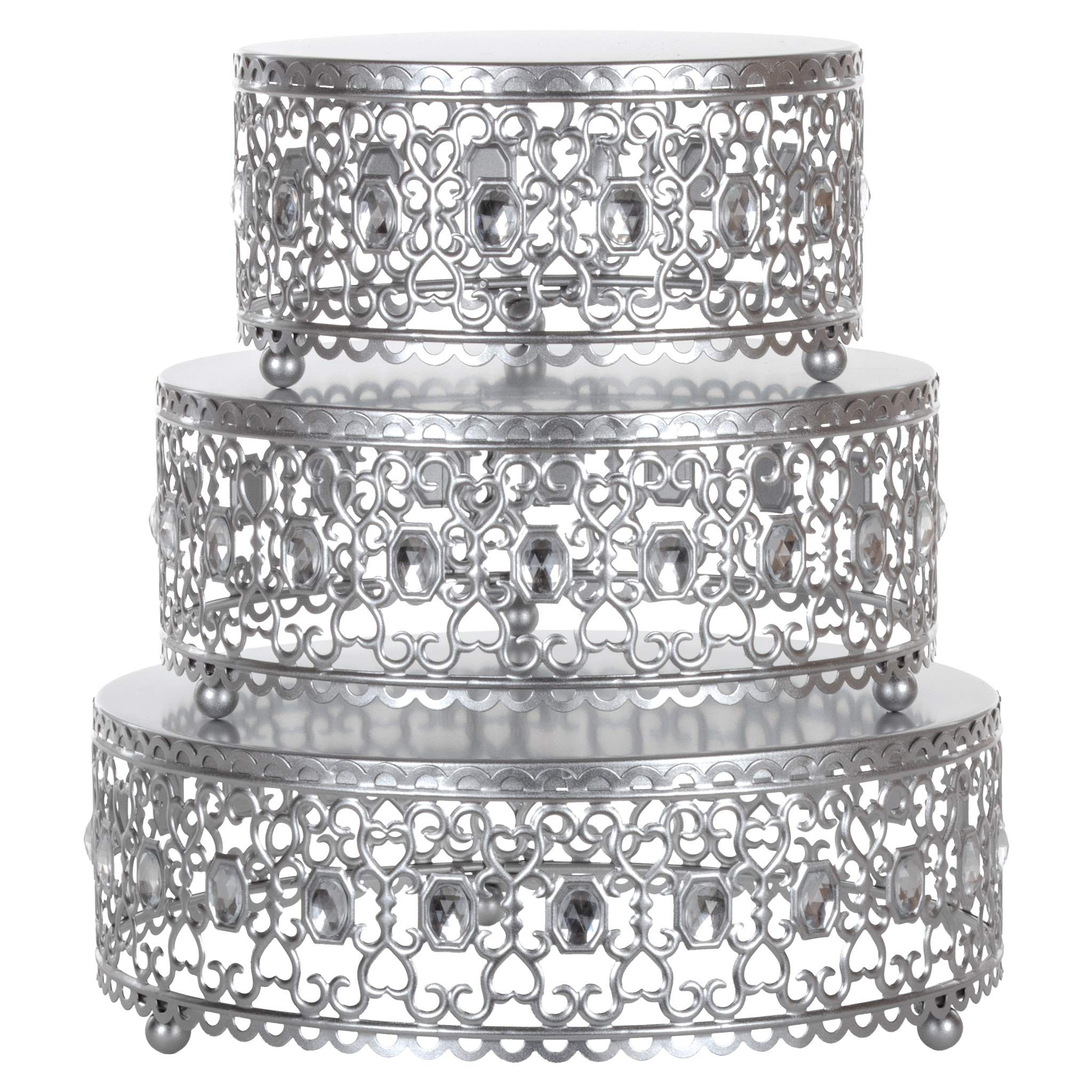 Amalfi Decor Cake Stand Plateau Riser Set of 3 Pack, Dessert Cupcake Pastry Candy Display Plate for Wedding Event Birthday Party, Round Metal Pedestal Holder with Crystal Gems, Silver by Amalfi Décor
