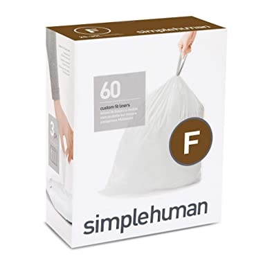 simplehuman Code F Custom Fit Drawstring Trash Bags, 25 Liter / 6.5 Gallon, 3 Refill Packs (60 Count)